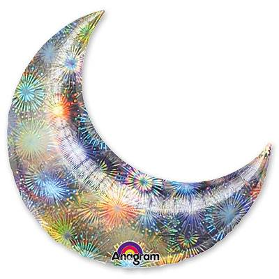 Шар 43 см Мини-Фигура месяц Голография Серебро