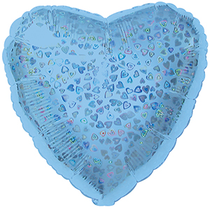 Шар 46 см Сердце Голубой голография