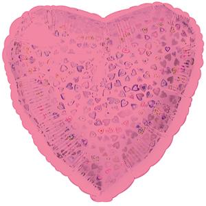 Шар 46 см Сердце Розовый голография