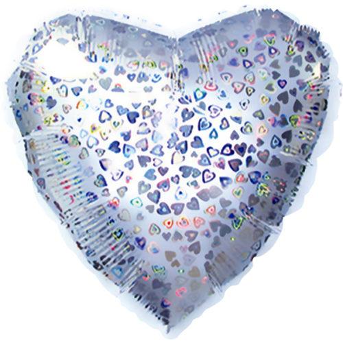 Шар 46 см Сердце Серебро голография