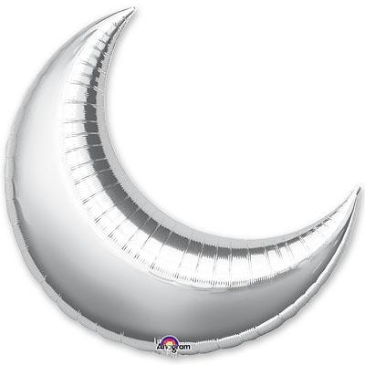 Шар 89 см Фигура месяц Серебро