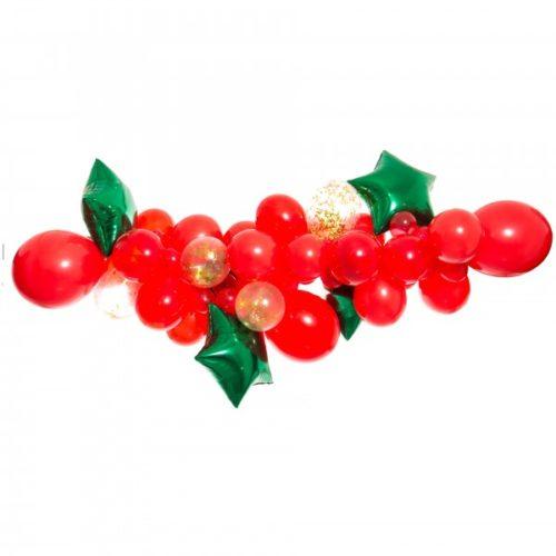 Гирлянда из разных шариков Новогодняя красная со звездами 2 метра