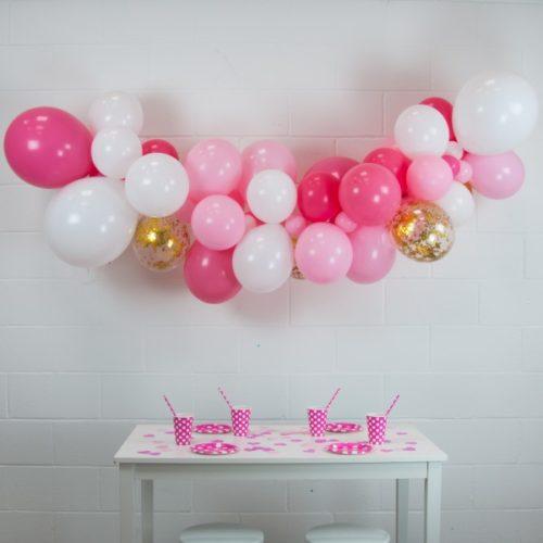 Гирлянда из разных шариков Розовый Белый конфетти 2 метра