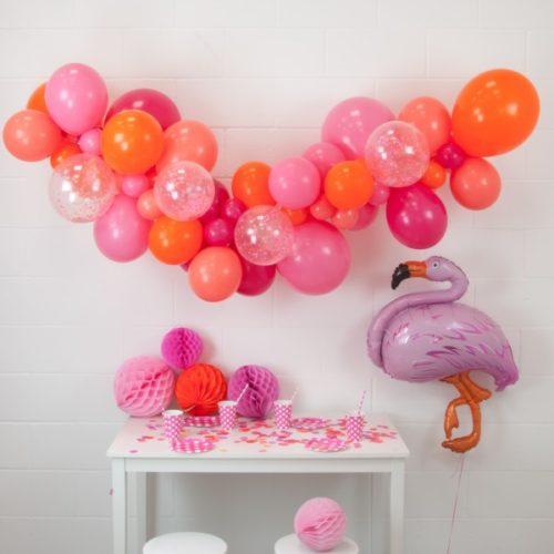 Гирлянда из разных шариков Тропический закат с Фламинго 2 метра