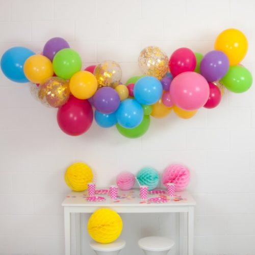 Гирлянда из разных шариков цвет Ассорти Бордо с конфетти 2 метра