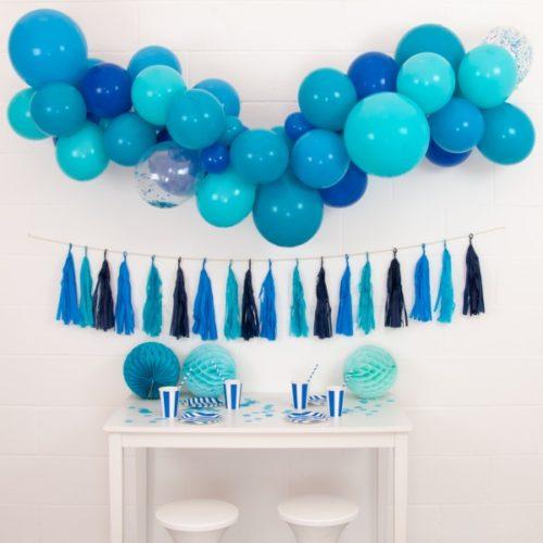 Гирлянда из разных шариков цвет Голубой Аквамарин и Синий 2 метра