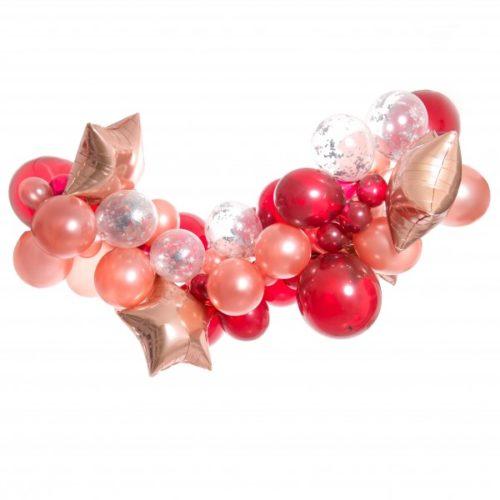 Гирлянда из разных шариков цвет Персик Бордо со звездами 2 метра