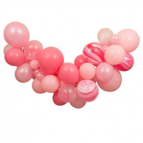 Гирлянда из разных шариков цвет Персик Розовый Мрамор 2 метра