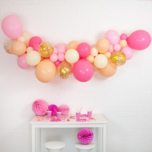 Гирлянда из разных шариков цвет Персик Розовый Крем с конфетти 2 метра