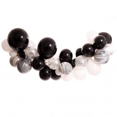 Гирлянда из разных шариков цвет Черный Белый и Мрамор с конфетти 2 метра