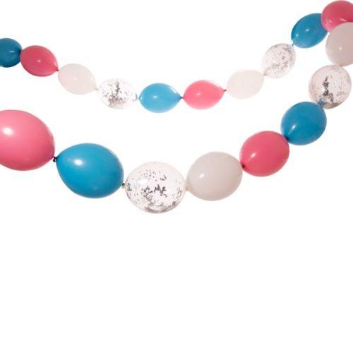 Гирлянда из шаров простая с воздухом Розовый и Голубой диаметр макси 5 метров