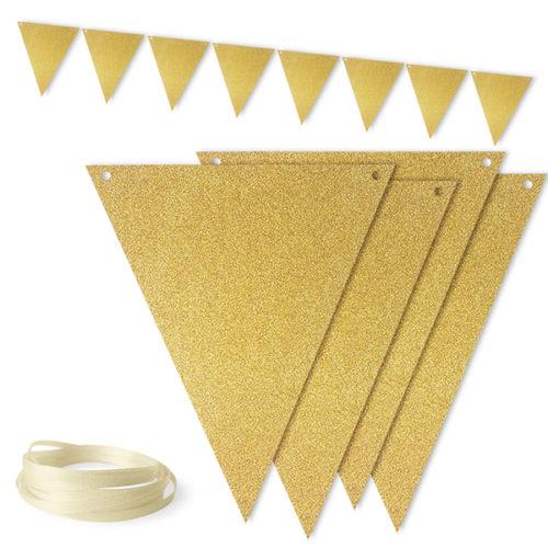 Гирлянда флажки Золото с блестками 300 см