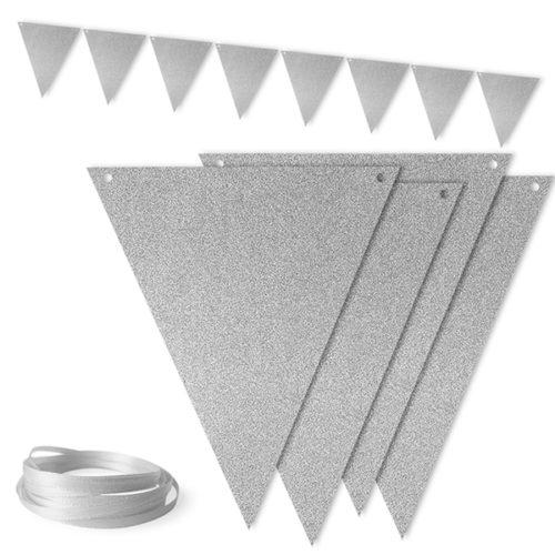 Гирлянда флажки Серебро с блестками 300 см