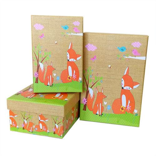 Коробка 18 х 12 х 7 Набор коробок 3 в 1 Детский Лисята прямоугольник