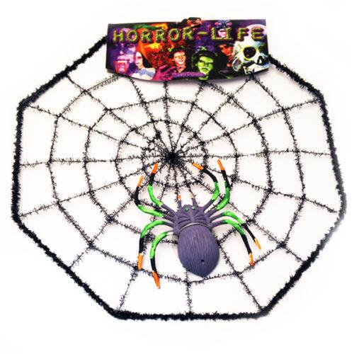 Паутина натянутая с пауком 28см