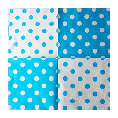 Салфетки 33 х 33 см Горох Белый на голубом 12 штук