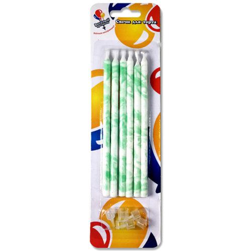 Свечи Мрамор зеленый 15 см 6 штук