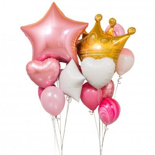 Связка из воздушных шаров Корона Принцессы