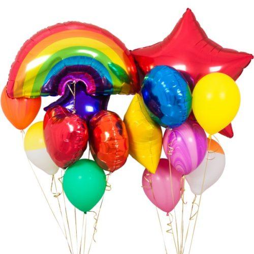Связка из воздушных шаров Радужная магия