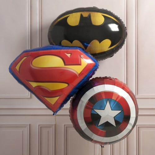 Связка шаров из фольги Все герои вместе