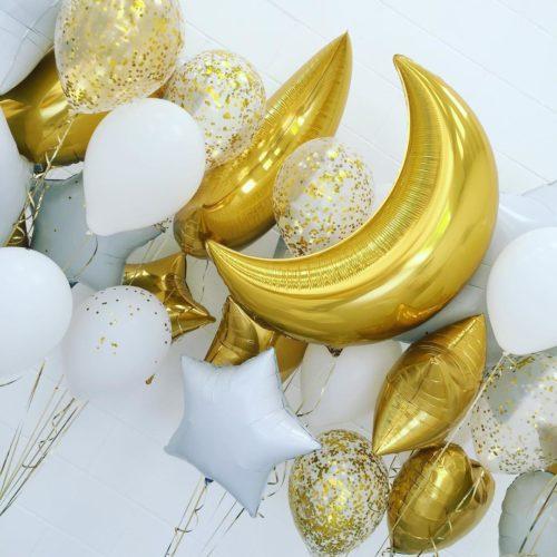 Фонтаны из шаров Месяц со звездами и Конфетти Белый Золото 4 штуки