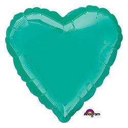 Шар 46 см Сердце Металлик Бирюзовый