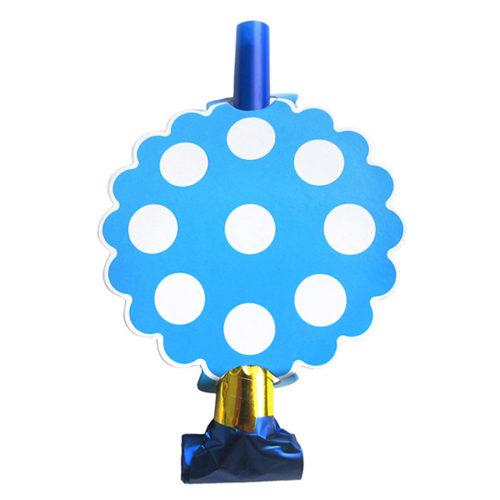Язычки-гудки 13 см Горох Белый на голубом 6 штук