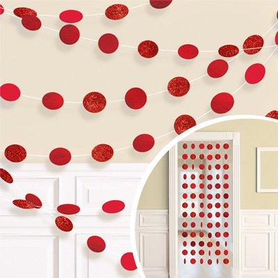 Гирлянда Круги Красный Apple Red блеск 2,1 м 6 штук