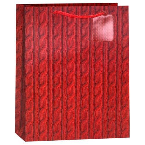 Пакет подарочный Вязаный Красный 26 x 32 x 12