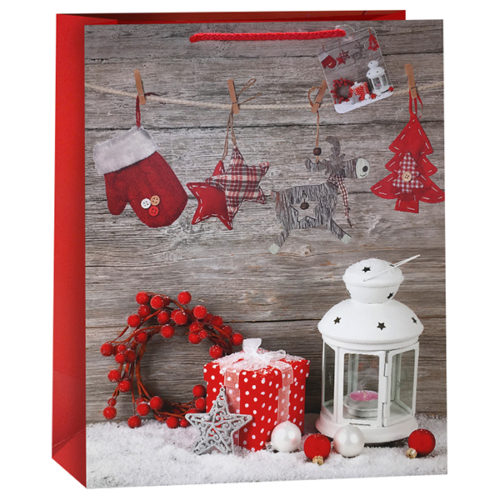 Пакет подарочный Новогодний Зимний натюрморт 31 x 42 x 12