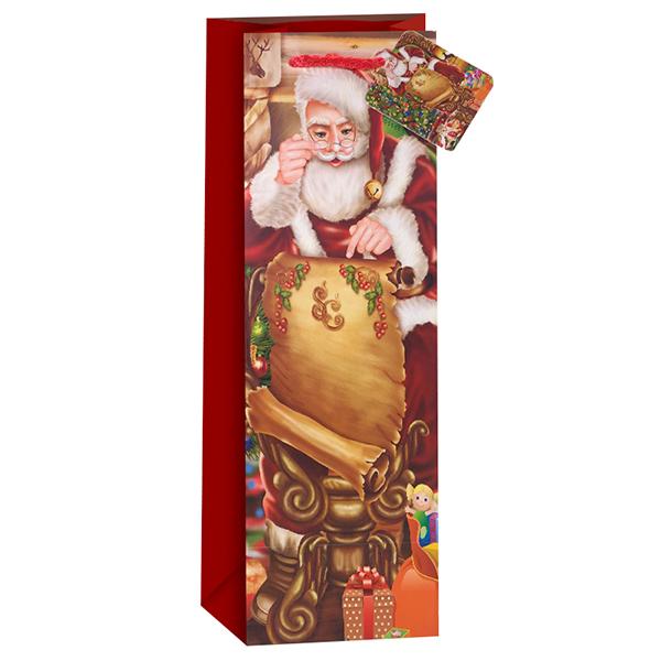 Пакет подарочный для вина Новогодний Дед мороз Красный 12,5 х 34,5 х 10 см