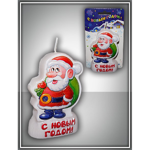 Свеча-барельеф Дед Мороз 8 см
