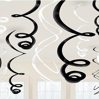 Спираль 46-60 см Черная и Белая 12 штук