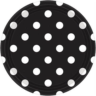 Тарелки черные Black Горошек 23 см