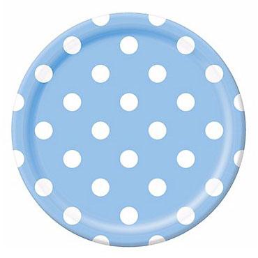 Тарелки 23 см Голубая Пастель Горошек 8 штук