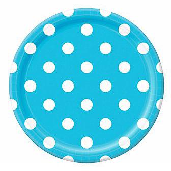 Тарелки 23 см Голубые Карибы Горошек 8 штук