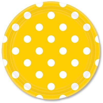 Тарелки 23 см Солнечно-желтые Горошек 8 штук