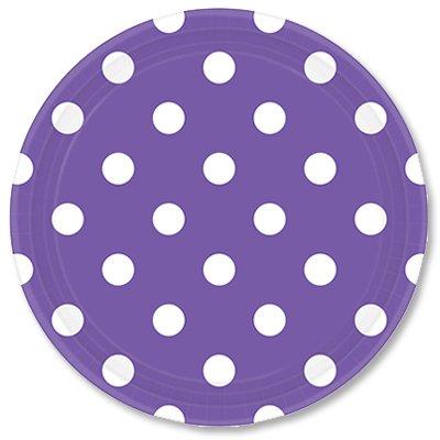 Тарелки 23 см Фиолетовые Горошек 8 штук