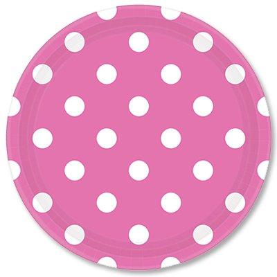 Тарелки 23 см Ярко-розовые Горошек 8 штук
