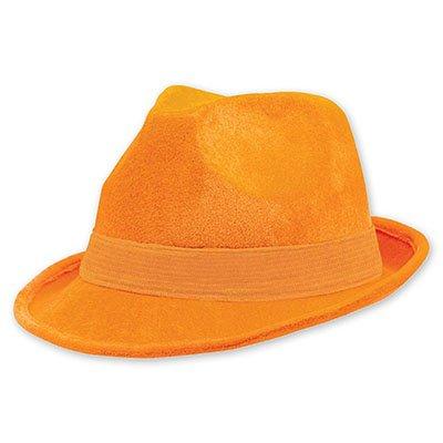 Шляпа федора велюр Оранжевая