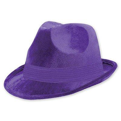 Шляпа-федора велюр Фиолетовая