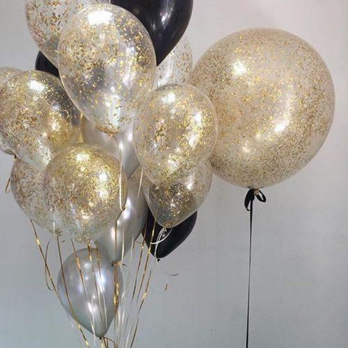 Комплект Шар 60 см с Конфетти Блестки Золото и связка шаров