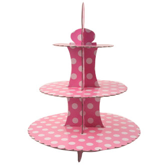 Подставка для пирожных трехъярусная Горох Белый на розовом 37 см
