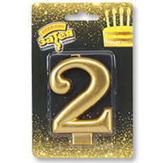 Свеча - Цифра 2 Золотая 8 см