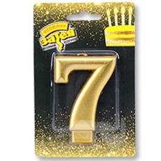 Свеча - Цифра 7 Золотая 8 см