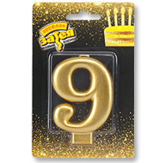 Свеча - Цифра 9 Золотая 9 см