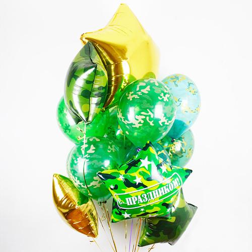 Связка Камуфляж Микс из воздушных шаров со звездами