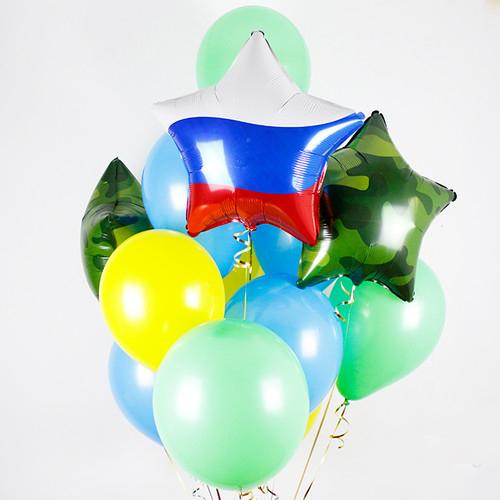 Связка Камуфляж Микс из воздушных шаров со звездой Триколор