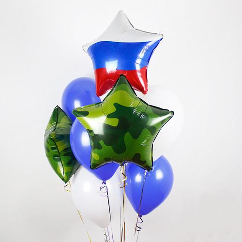Связка Камуфляж Микс и Синий из воздушных шаров со звездами