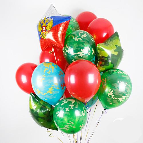 Связка Камуфляж и Красный Микс из воздушных шаров со звездами